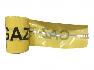 GAZ warning tape with metal insert. - 20 cm wide